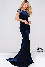 Navy Cap Sleeve Fitted Velvet Prom Dress Jvn41449