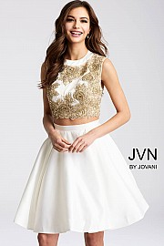 White and Gold Two Piece Fit and Flare Short Dress JVN45597