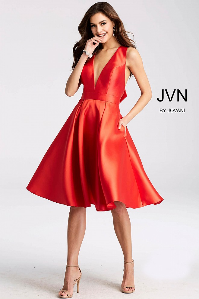 Red fit and flare pleated skirt v neck sleeveless short dress.