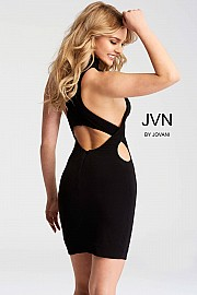Black Sleeveless Cutout Fitted Short Dress JVN51210