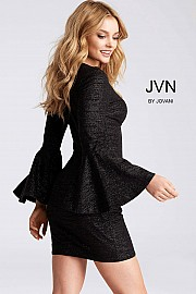 Wine Fitted Long Bell Sleeves Cocktail Dress JVN51432