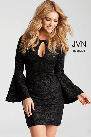 Black Fitted Long Bell Sleeves Cocktail Dress JVN51432