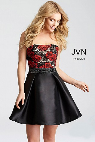 Black and Red Floral Embroidered Strapless Short Dress JVN53110