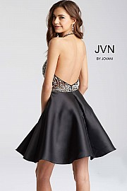 Black Beaded Halter Neck Bodice Short Dress JVN53174