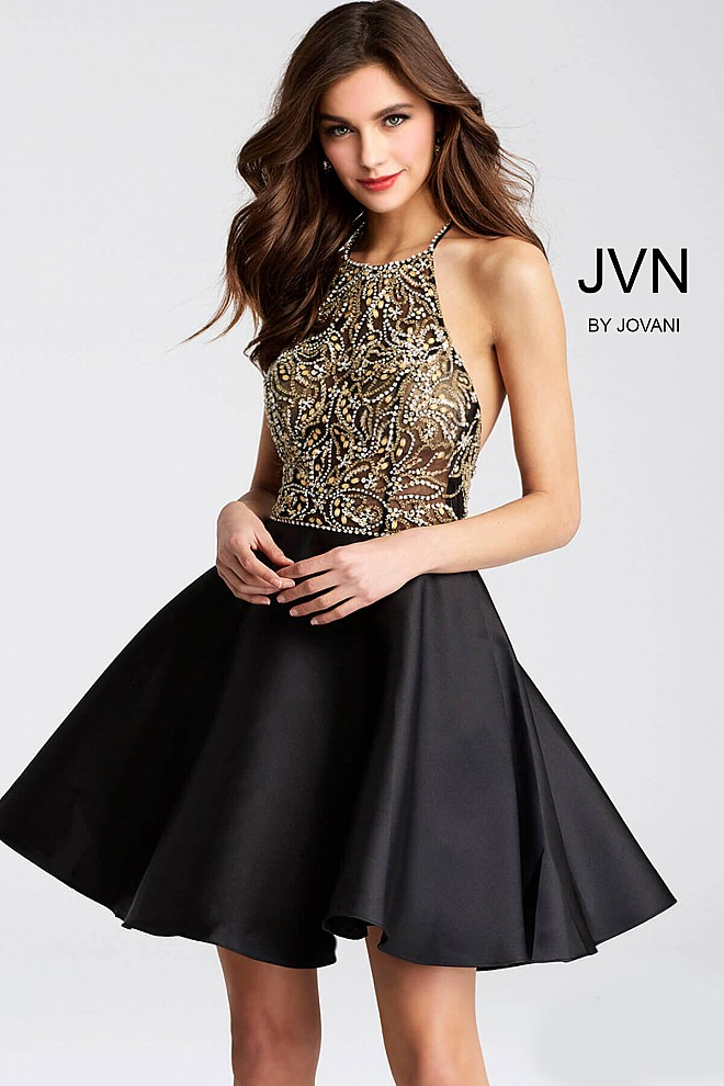 Black Beaded Halter Neck Bodice Short Dress JVN53174