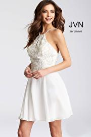 White Chiffon Embellished Bodice Short Dress JVN53176