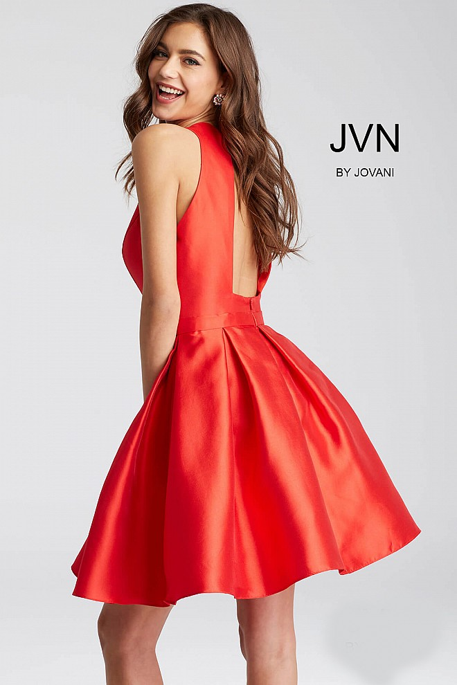 18ba0c038b Red Fit and flare pleated skirt sleeveless short dress.