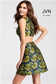 Green Floral Print Sleeveless V Neck Short Dress JVN53207