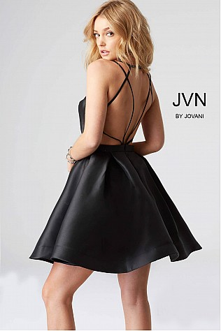 Black Fit and Flare Open Back Cocktail Dress JVN53360