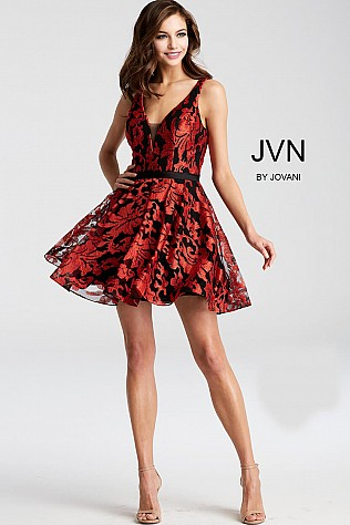 Two Tone Fit and Flare V Neck Short Dress JVN53382