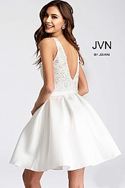 White Fit and Flare Plunging Neckline Short Dress JVN53390
