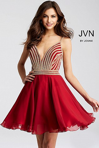 Red Fit and Flare Beaded Homecoming Dress JVN53392