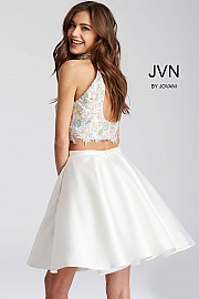 White Two Piece Multi Color Beaded Bodice Short Dress JVN54474