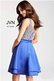 Royal Embellished V neck Bodice Sleeveless Short Dress JVN54740