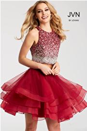 Jvn Wine Two Piece Beaded Bodice Short Dress JVN55227