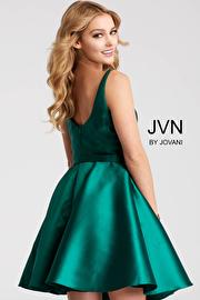 Fit and Flare Plunging Neckline Short Dress JVN53054