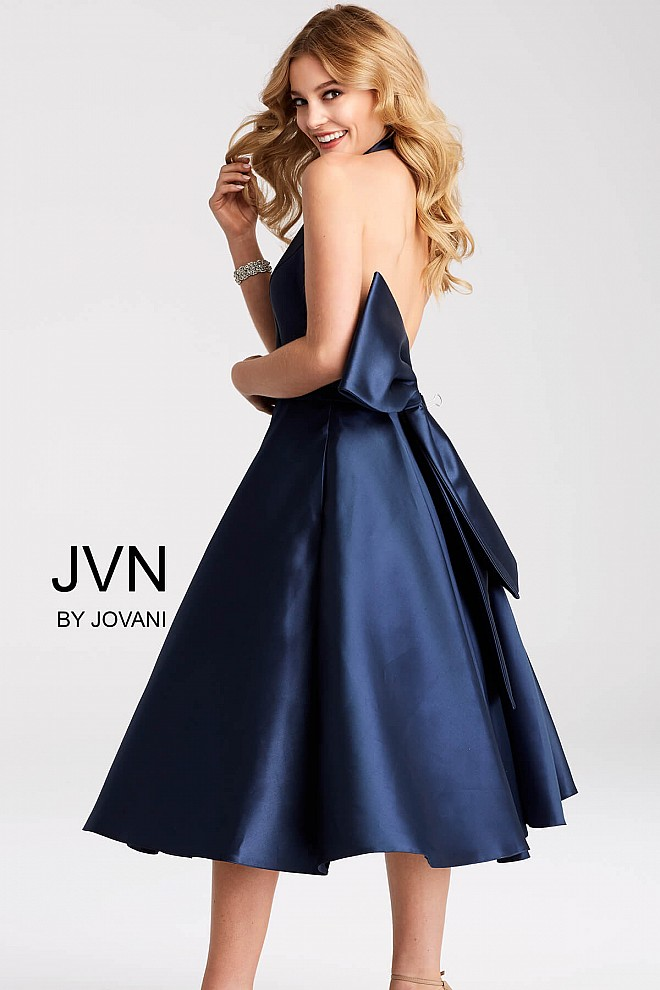 Navy fit and flare knee length halter neckline cocktail dress.