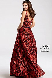 Red and Black Floor Length A Line Gown JVN55932