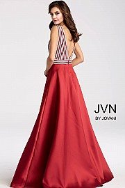 Burgundy and Silver Embellished Bodice Prom Ballgown JVN54705