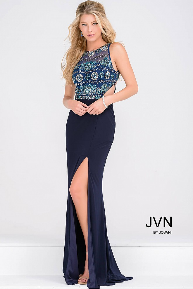 Navy Sleeveless High Slit Jersey Dress JVN47907