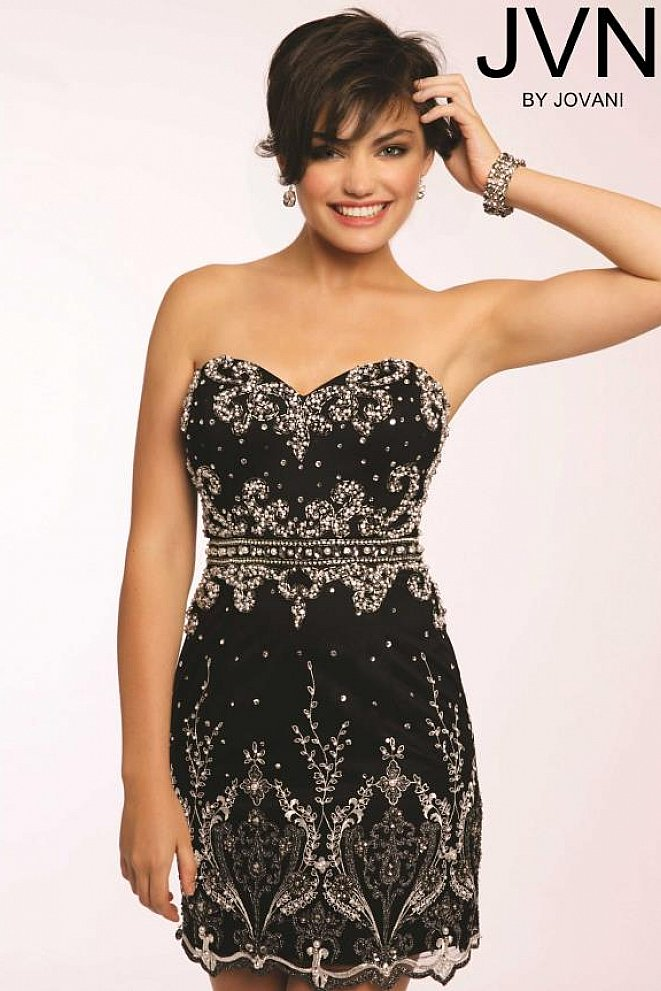 strapless fitted cocktail dress jvn20468