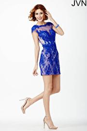 blue cap sleeve dress jvn28400