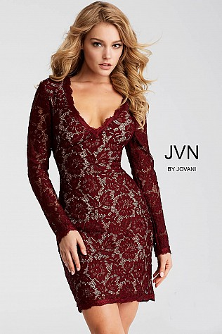 Wine Fitted Long Sleeve Lace Short Dress JVN42635