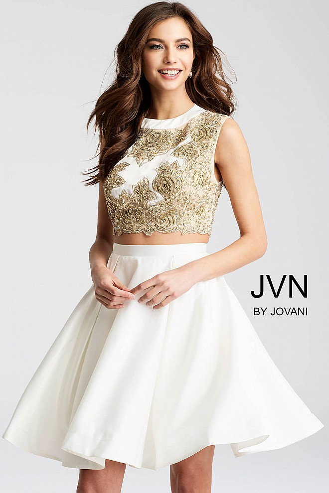 White and gold embroidered sleeveless bodice two piece ...