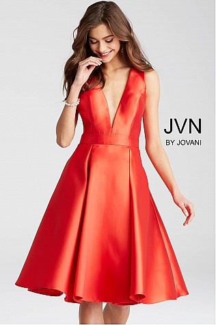 Red Plunging Neckline Knee Length Cocktail Dress JVN50075
