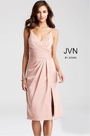Blush Ruched Bodice Knee Length Dress JVN50429
