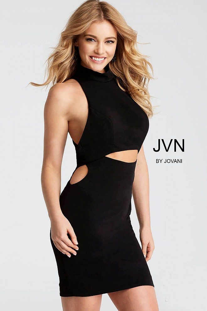 Black Sleeveless Cutout Fitted Short Dress JVN51210