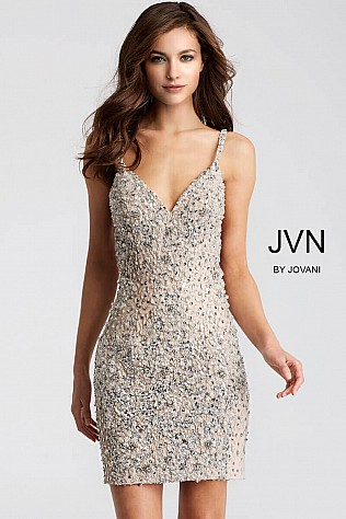 Silver Beaded Form Fitting Sleeveless Short Dress JVN51294
