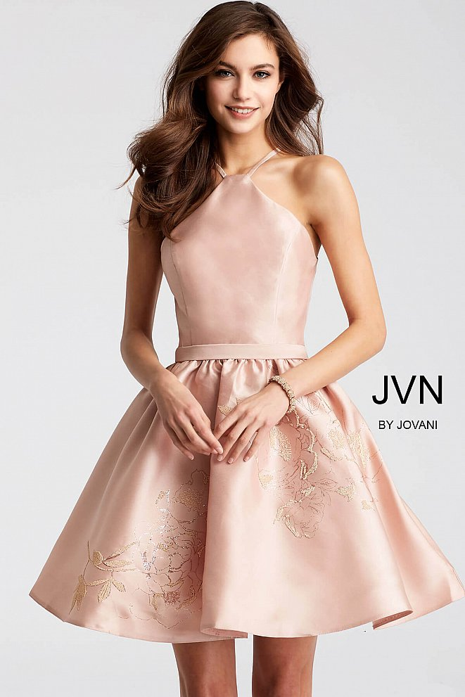 Champagne Fit and Flare Sleeveless Short Dress JVN52292