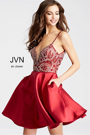 Burgundy Fit and Flare Embellished Bodice Short Dress JVN53168
