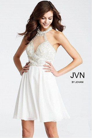 White Chiffon High Sheer Neckline Short Dress JVN53169