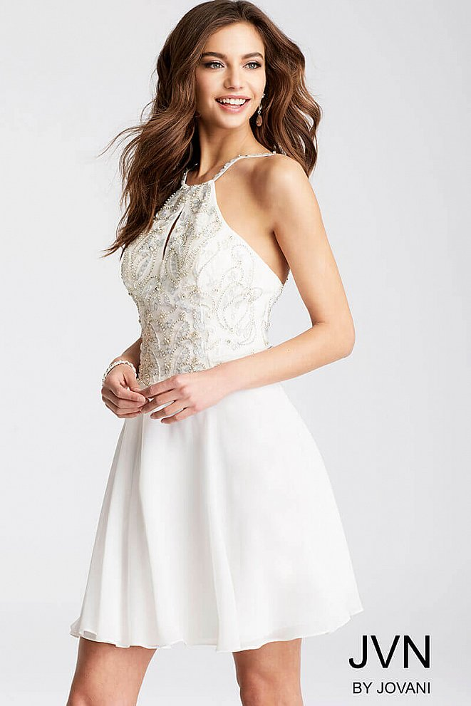 White Chiffon Embellished Bodice Short Dress JVN53176