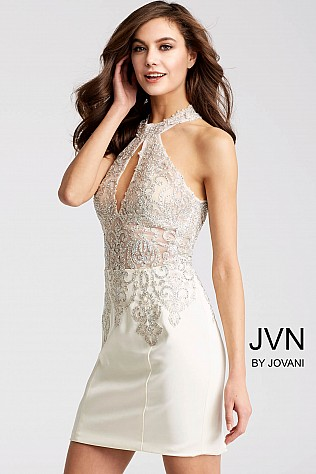 White Fitted High Key Hole Neckline Short Dress JVN53179