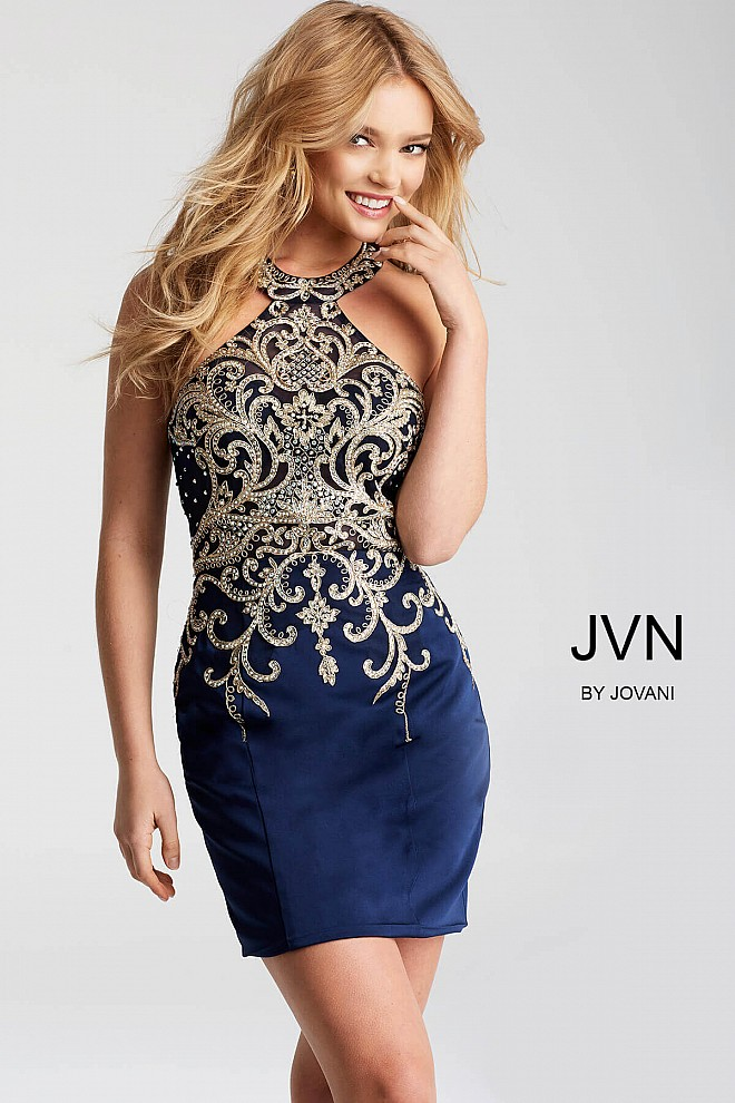 Navy Fitted Embroidered Short Dress JVN53193