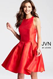 Jvn Red Fit and Flare Open Back Cocktail Dress  JVN53198