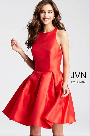 Red Fit and Flare Open Back Cocktail Dress  JVN53198