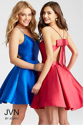 Fit and Flare Spaghetti Straps Short Dress JVN53202