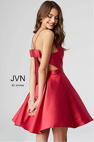 Red Open Back Fit and Flare Homecoming Dress JVN53202