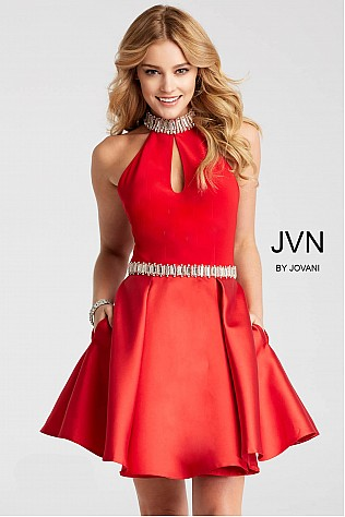 Red Crystal Embellished High Neck and Belt Short Dress JVN53205