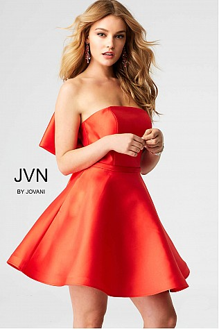 Red Strapless Fit and Flare Short Dress JVN53220