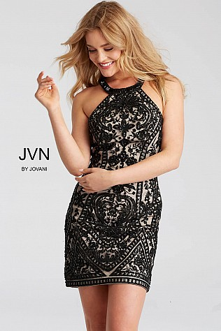 Black and Nude Fitted High Neck Short Dress JVN53359
