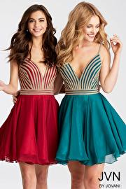 Jvn Fit and Flare Embellished Bodice Chiffon Short Dress JVN53392