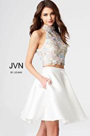 Jvn White Two Piece Multi Color Beaded Bodice Short Dress JVN54474