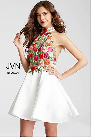Ivory Multi Color Floral Embroidered Bodice Short Dress JVN54512