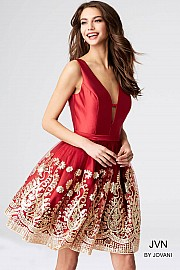 Jvn Burgundy Fit and Flare Sleeveless Short Dress JVN54527