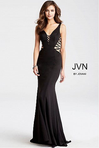 Black Fitted Long Sleeveless Prom Dress JVN54570